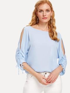 Shirred Drawstring Split Sleeve Top