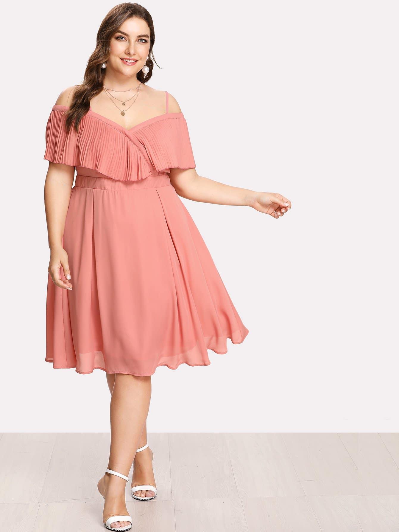Купить Модное платье с оборкой и открытыми плечами, Franziska, SheIn