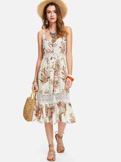 Lace Insert Floral Cami Dress