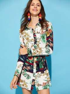 Self Belted Botanical Shirt Dress