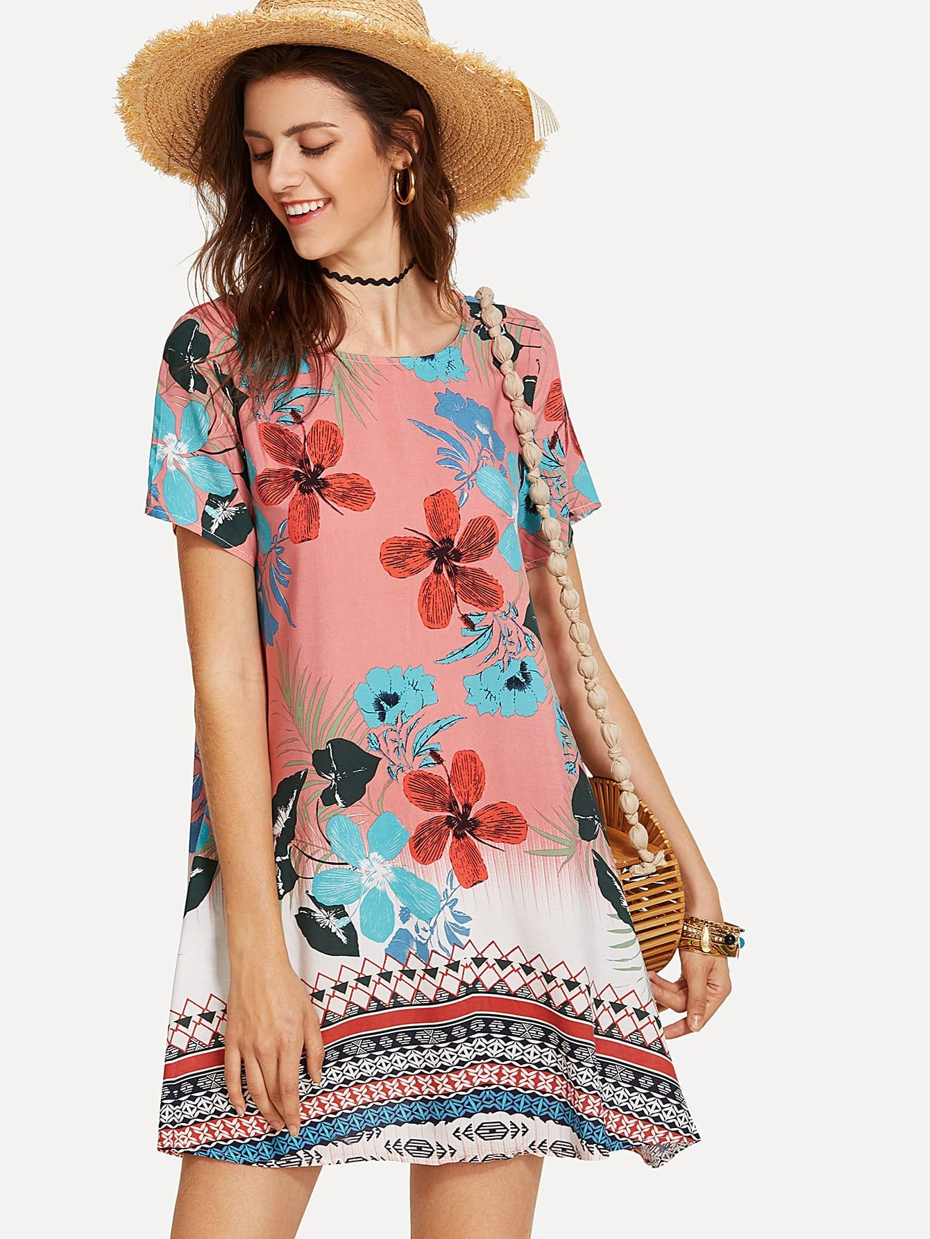 Geo & Flower Print Swing Dress все цены