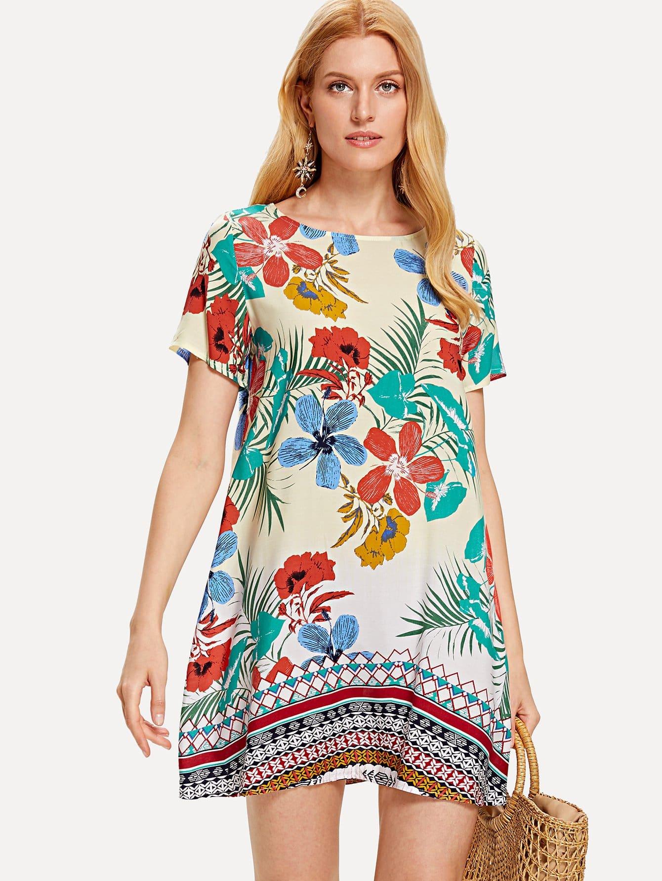 Tropical Print Tunic...