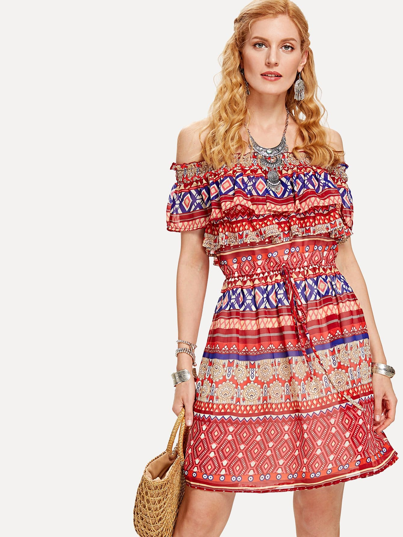Flounce Layered Neck Geo Print Dress tied neck geo print flare dress