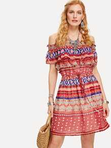 Flounce Layered Neck Geo Print Dress