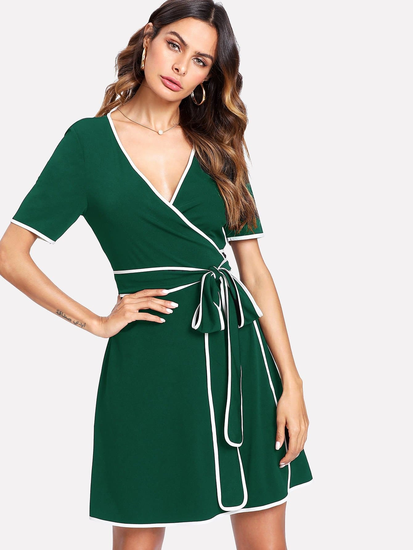 Contrast Binding Wrap Dress contrast binding wrap dress