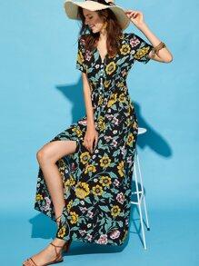 Button Up Smocked Waist Botanical Dress