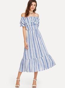 Layered Flounce Bardot Neck Striped Dress
