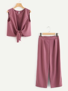 Knotted Front Crop Top With Wide Leg Pants