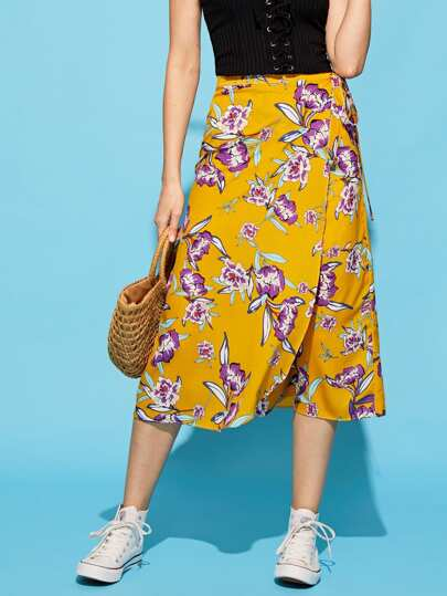 Floral Print Knot Side Skirt