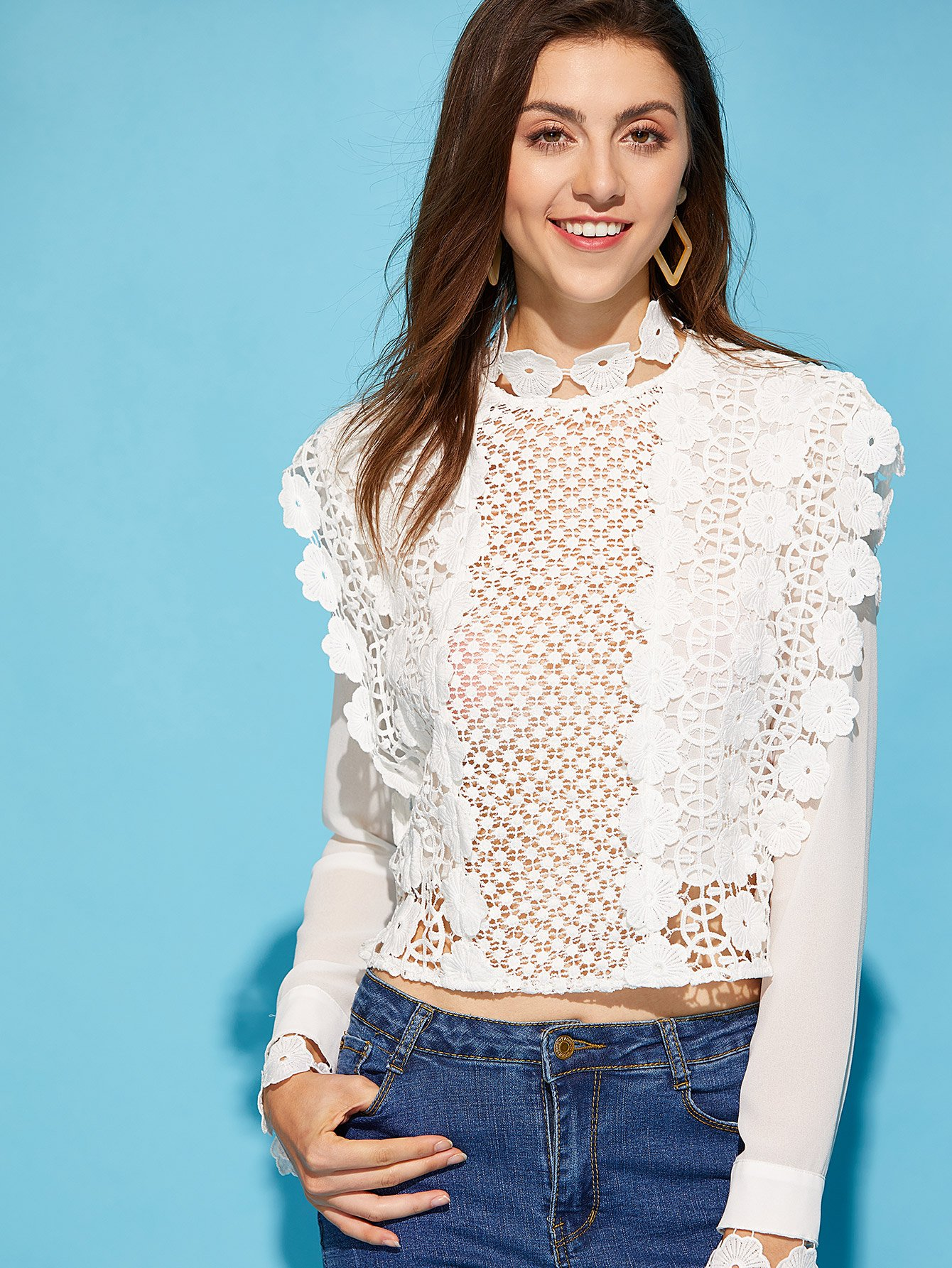 все цены на Zipper Back Applique Guipure Lace Insert Blouse
