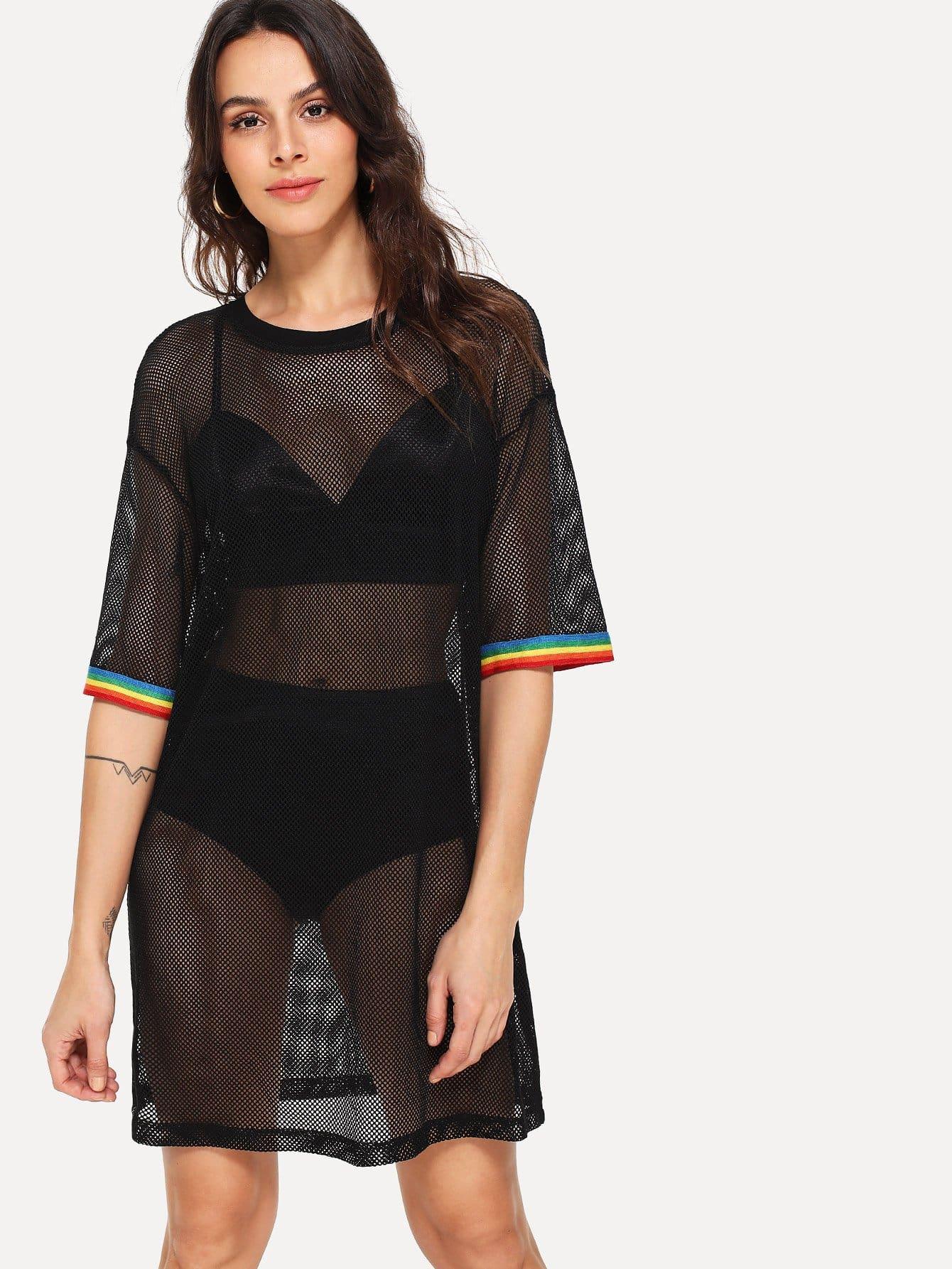 Drop Shoulder Striped Cuff Eyelet Dress drop shoulder two tone eyelet sweater