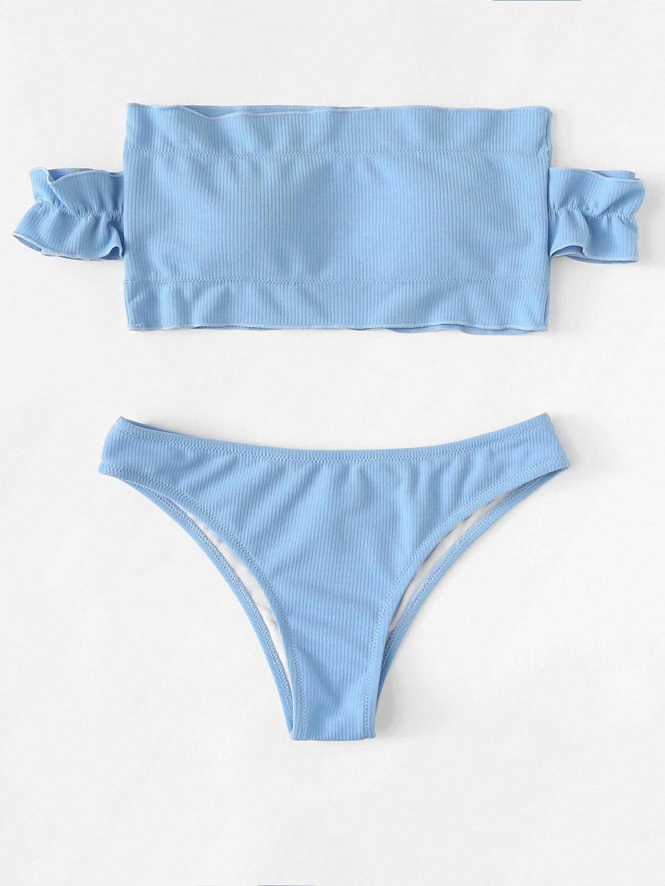 Frill Detail Solid Ribbed Knit Bikini Set frill sleeve tape detail sweatshirt