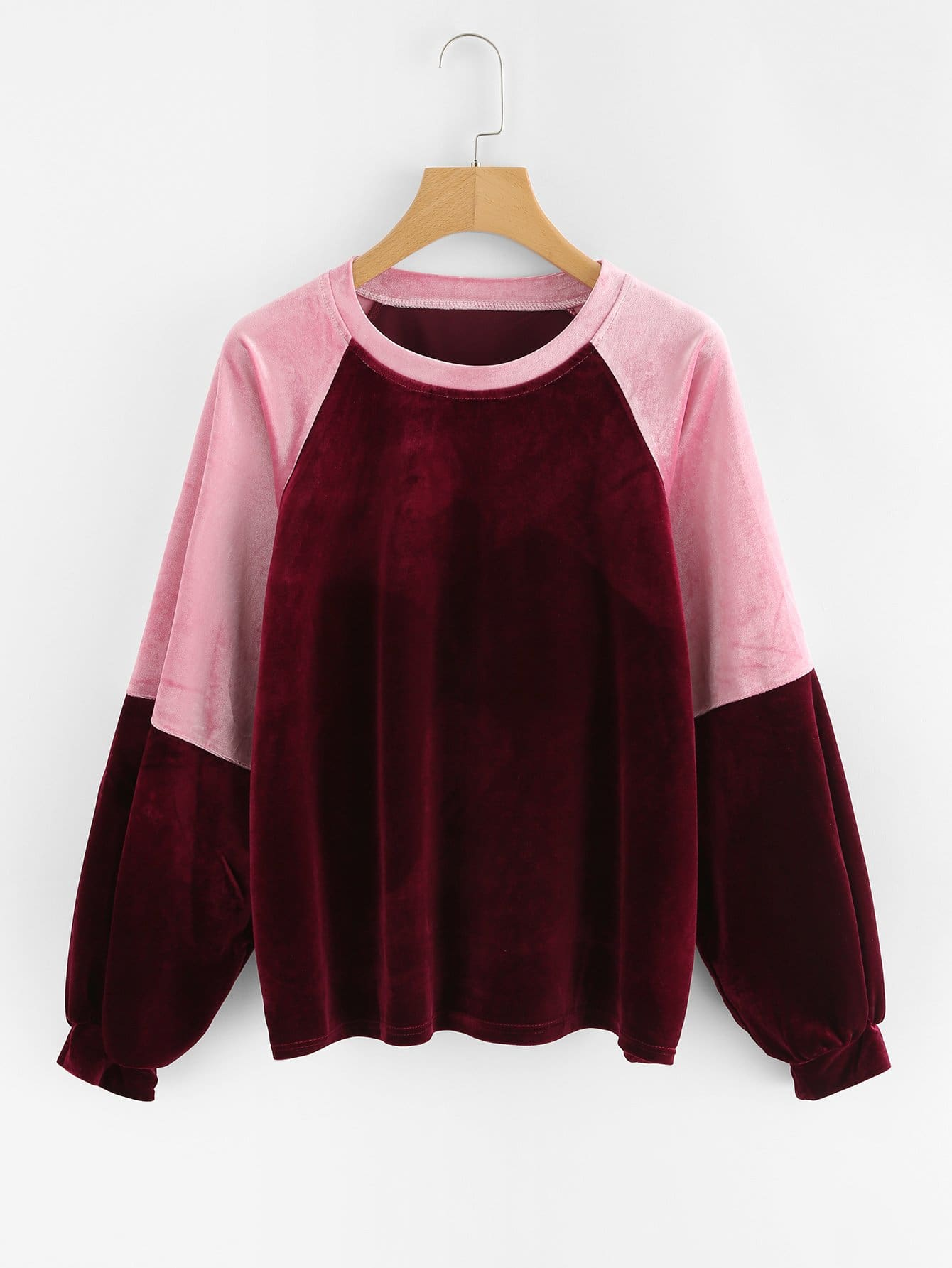 Two Tone Raglan Sleeve Velvet Pullover two tone graphic embroidered raglan sleeve t shirt