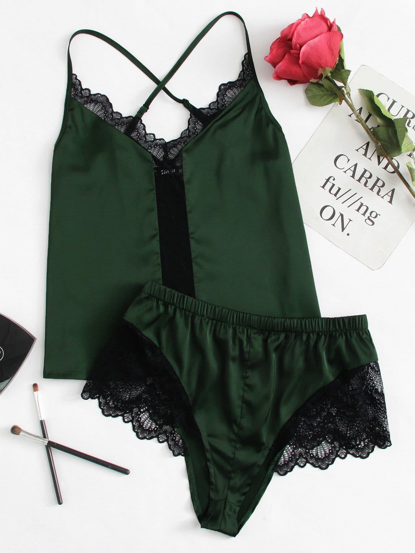 Lace Insert Satin Cami & Shorts PJ Set lace insert fit