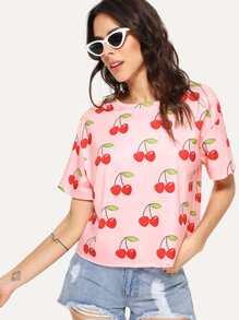 Allover Cherry Print Tee