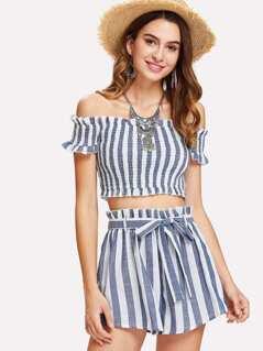 Shirred Striped Bardot Top & Belted Shorts Set