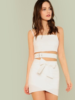 Buckled Wrap Crop Top with Tie Waist Overlap Skirt