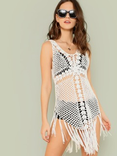 Crochet Swimsuit Cover Up Top with Tassel Detail