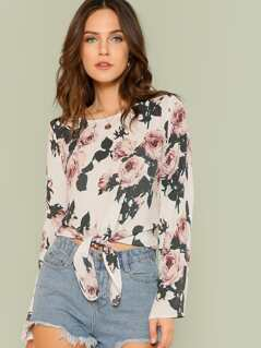 Floral Print Sheer Top with Front Tie