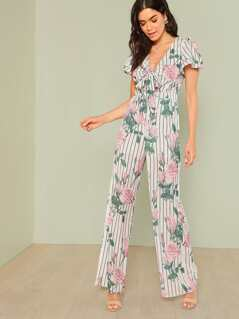 Floral and Stripe Print Tie Front Jumpsuit