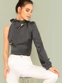 Tied Neck One Shoulder Polka Dot Top