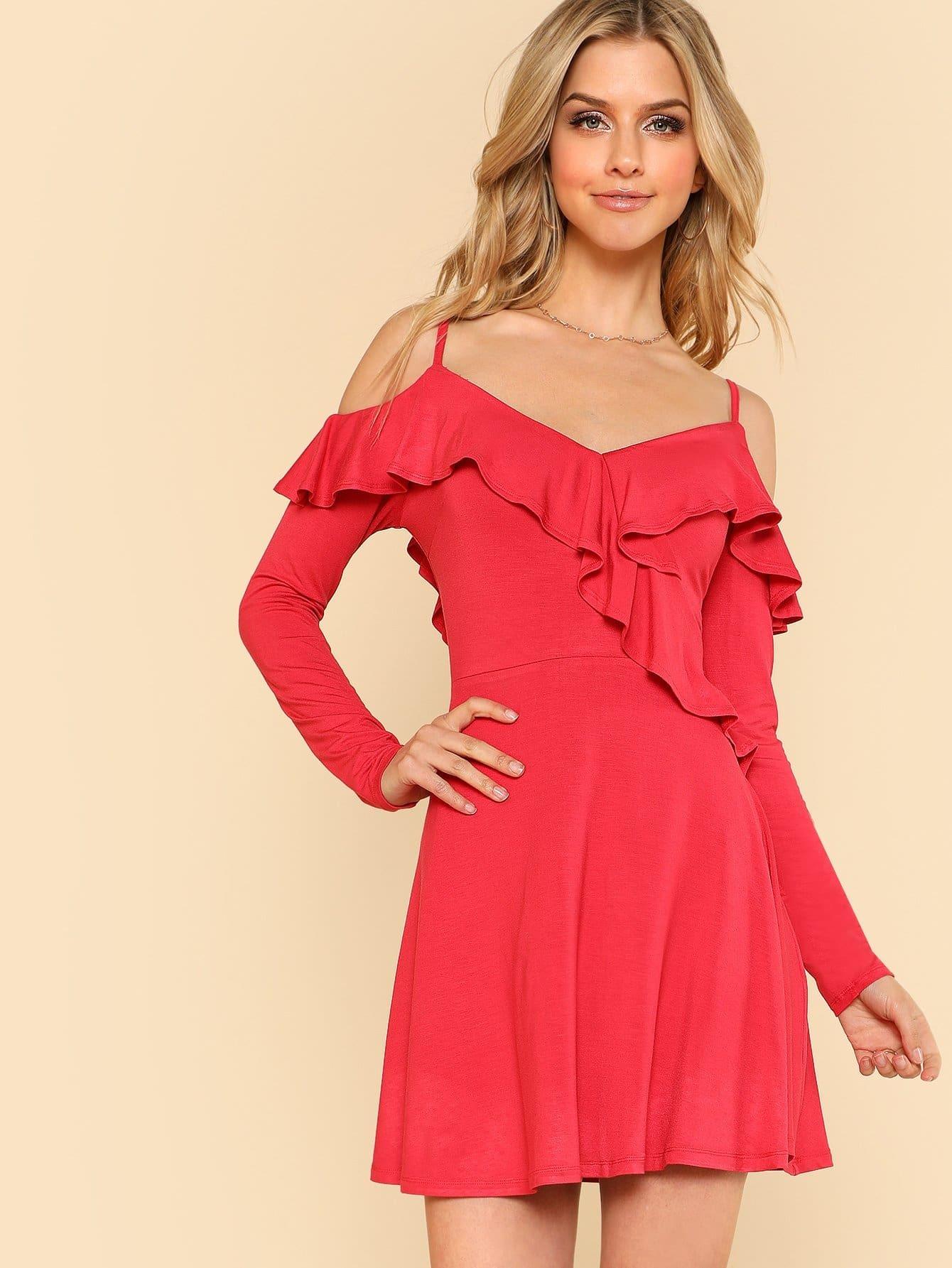 Open Shoulder Flounce Embellished Fit & Flare Dress button embellished fit