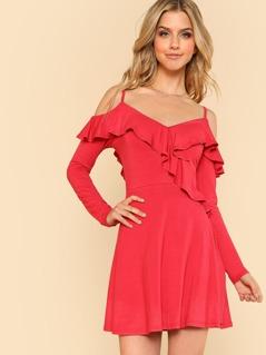 Open Shoulder Flounce Embellished Fit & Flare Dress