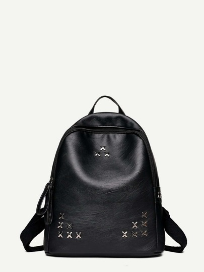 Metal Detail PU Backpack