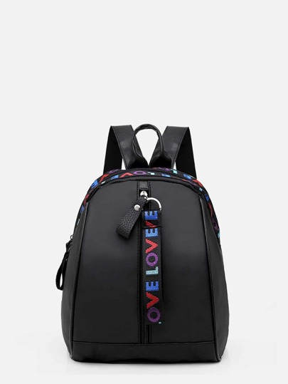 Slogan Detail Curved Top Backpack