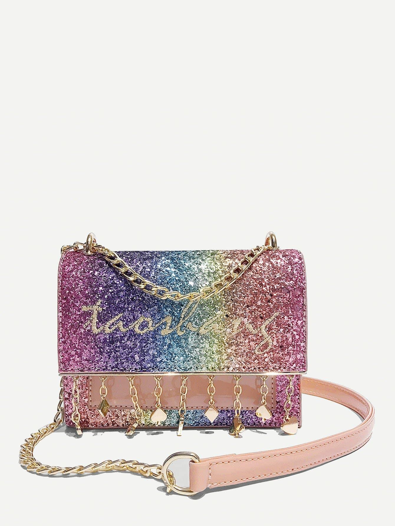 Embroidered Detail Glitter Shoulder Bag star detail glitter crossbody bag