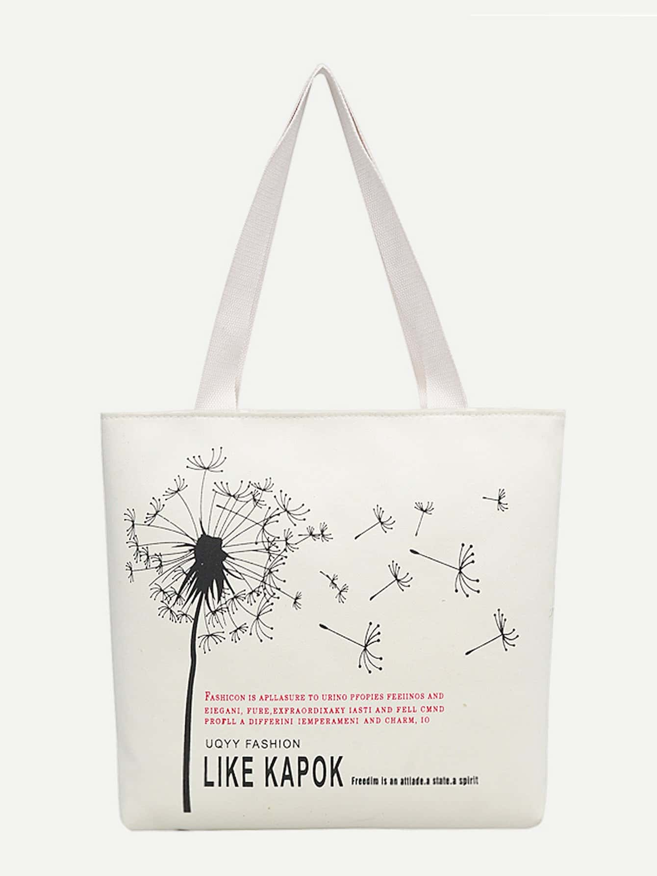 Dandelion Print Tote Bag heel print tote bag