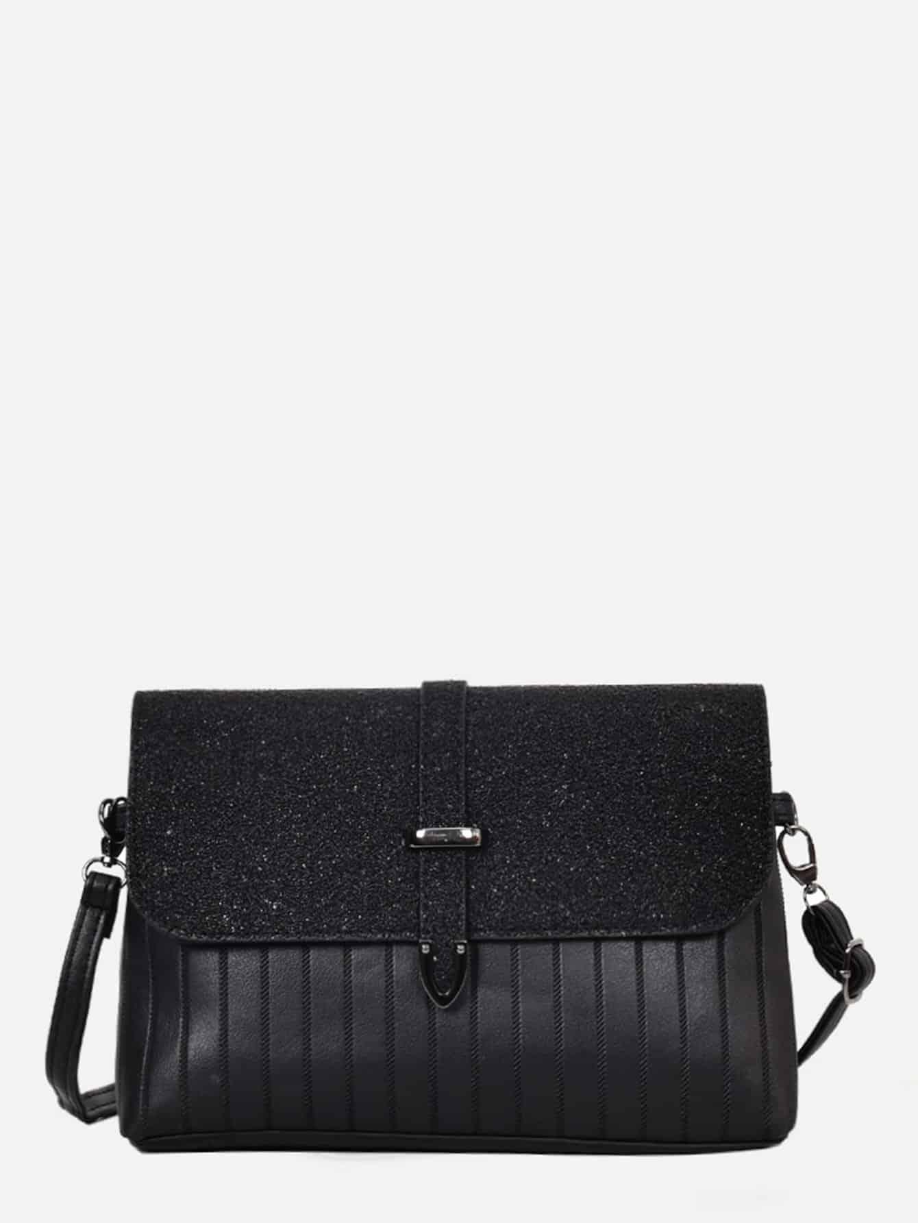 Ribbed Detail Glitter Shoulder Bag star detail glitter crossbody bag