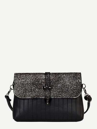 Ribbed Detail Glitter Shoulder Bag