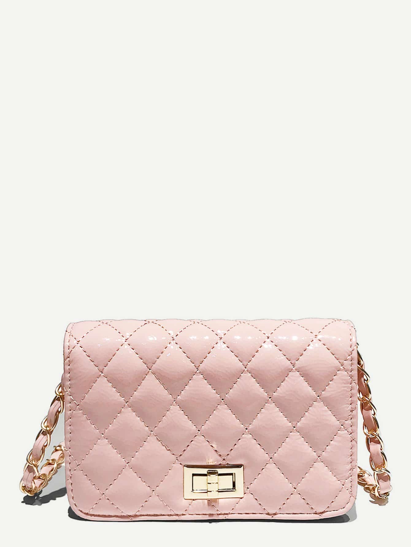 Quilted Twist Lock Chain Bag metal lock quilted chain bag