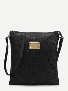 Floral Detail Laser Out Crossbody Bag