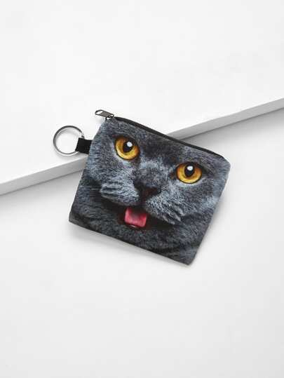 Ring Detail Cat Print Wallet