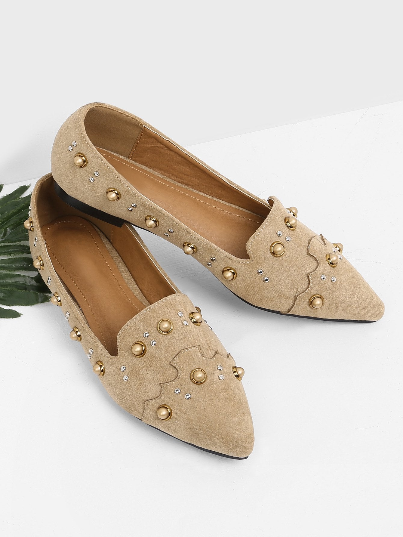 Faux Pearl Decorated Slip On Flats faux pearl detail slip on plimsolls