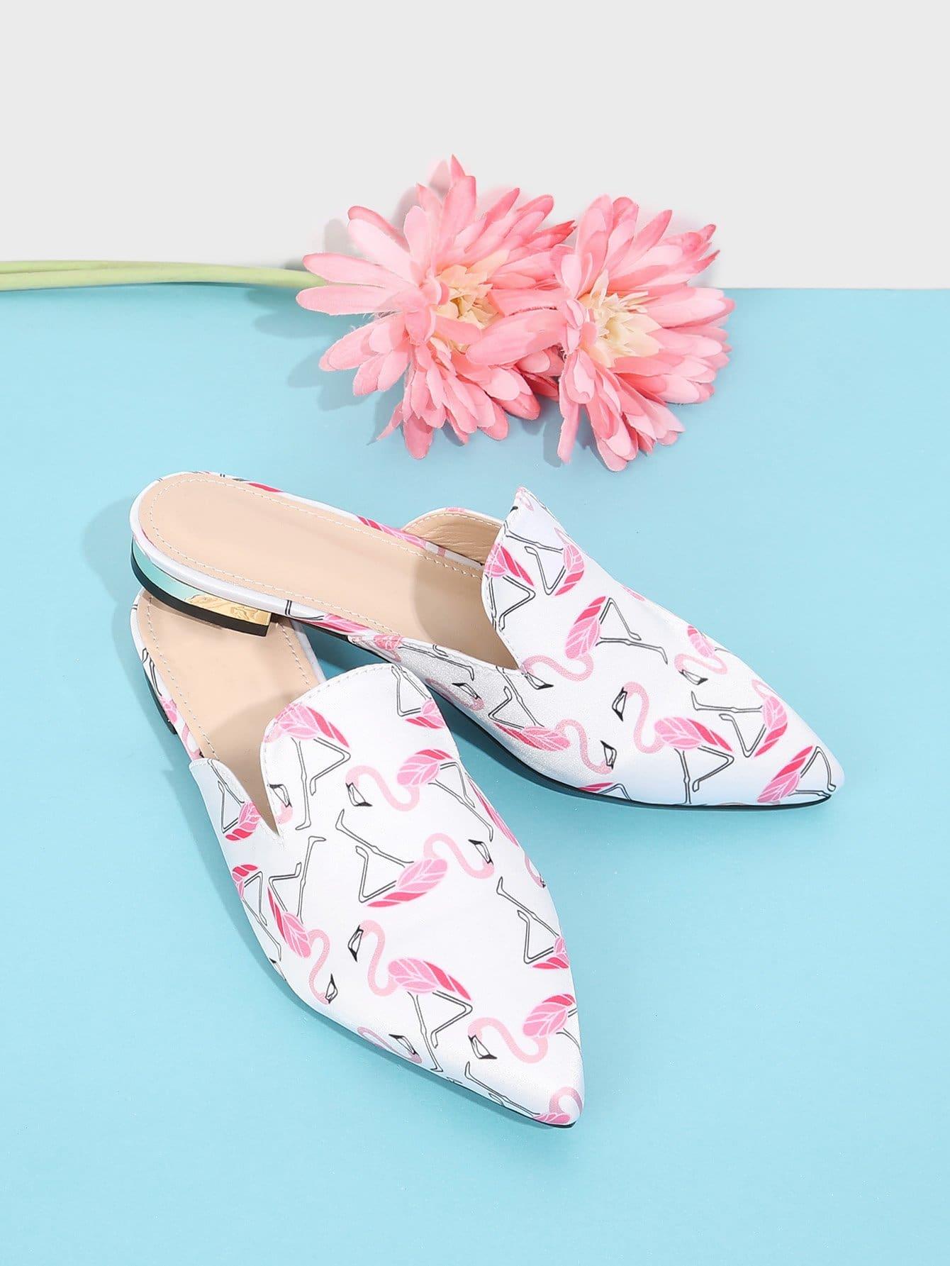 Flamingo Print Pointed Toe Flats цена 2017