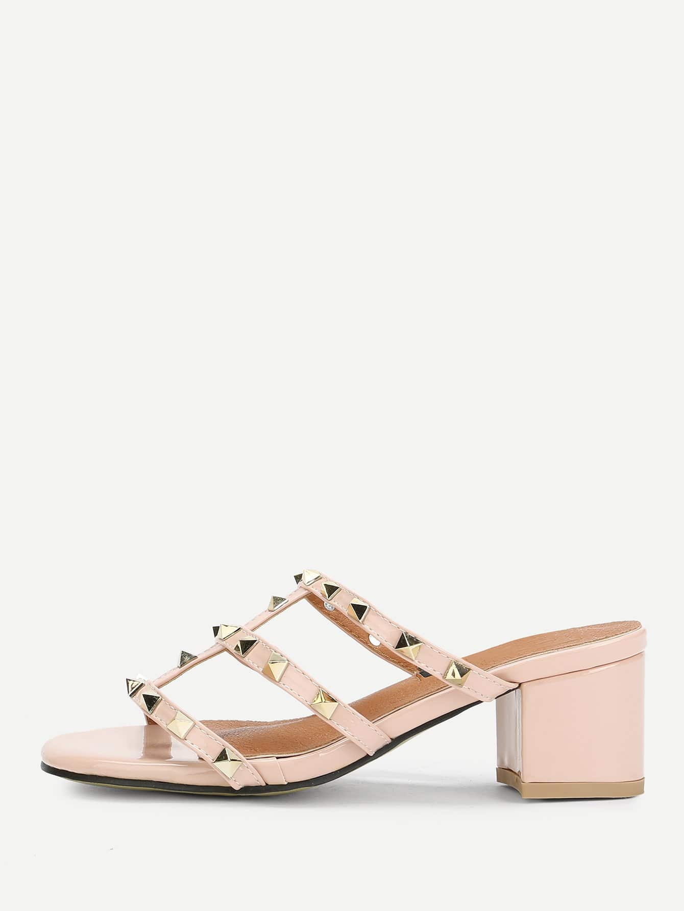 Rivet Detail Strappy Heeled Sandals rhinestone detail strappy sandals
