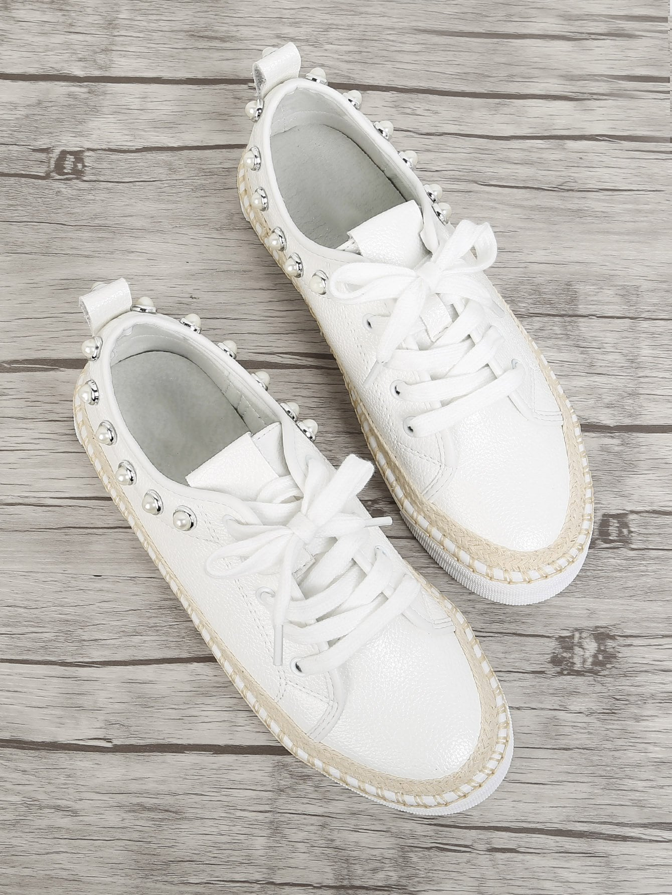 все цены на Faux Pearl Detail Lace Up Sneakers