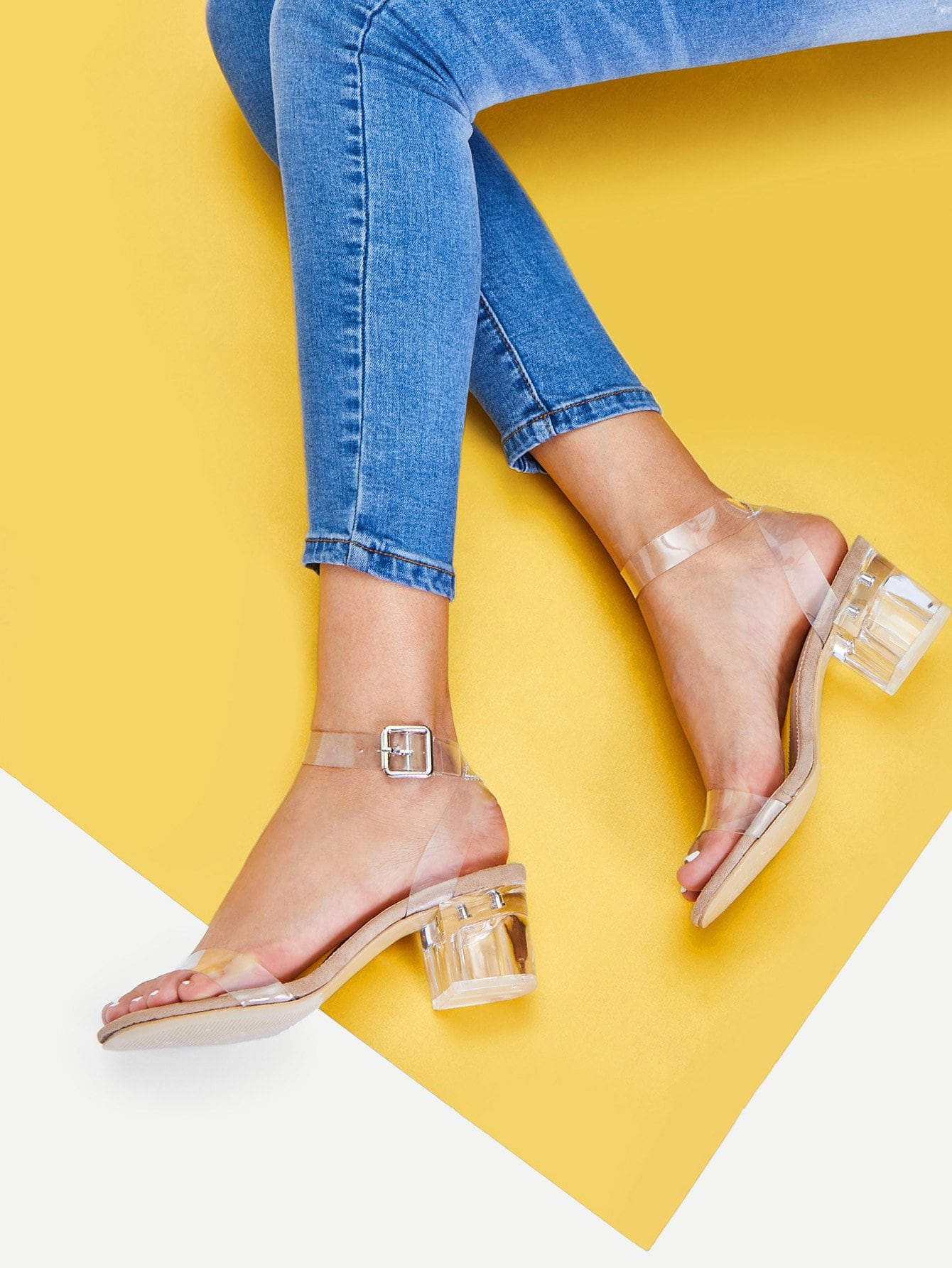 f3acbfe1951 Clear Strap Block Heeled Sandals