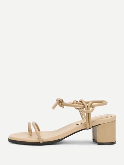 Strappy Toe-Loop Heeled Sandals