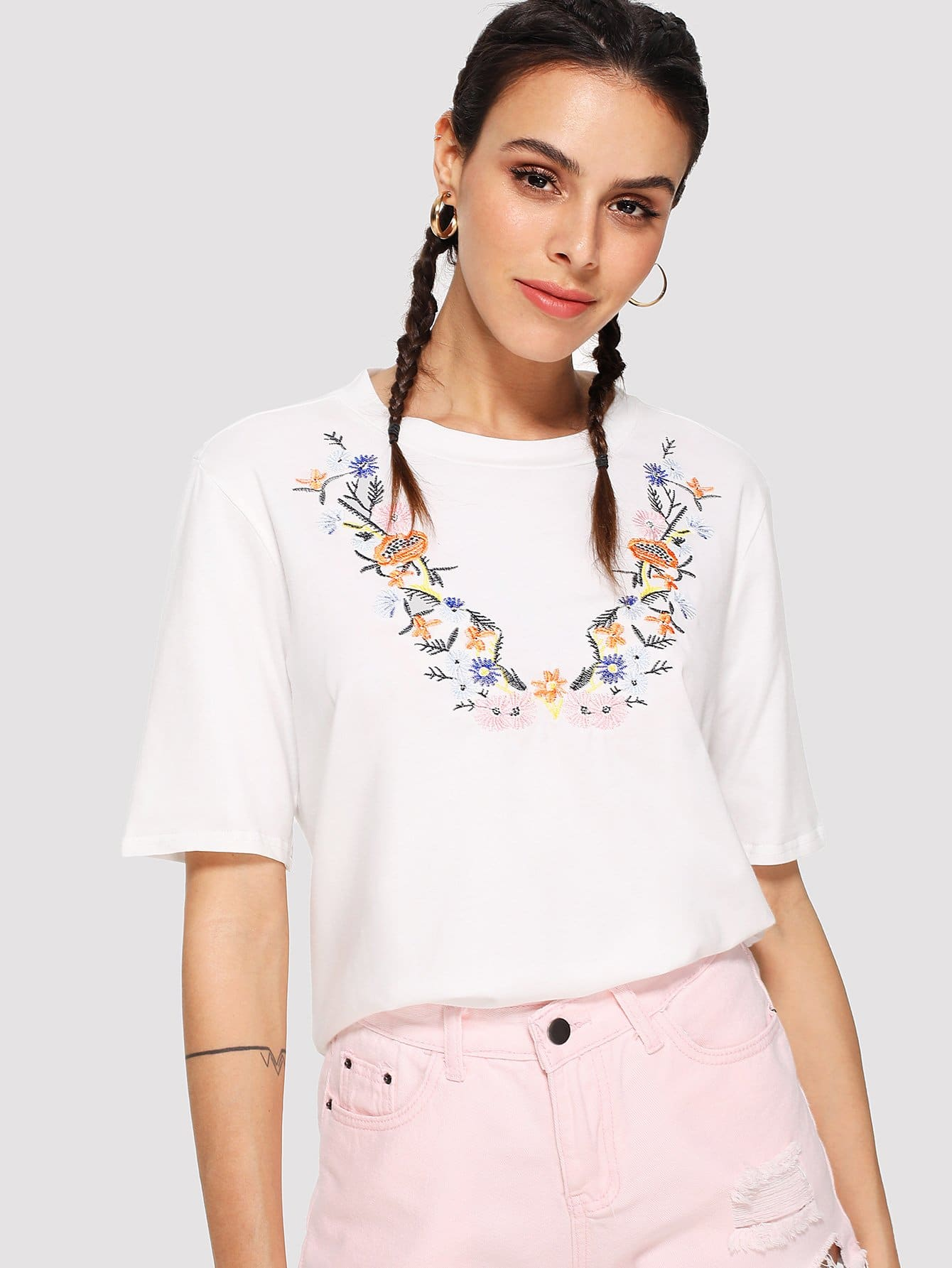 Floral Embroidered Tee butterfly embroidered tee