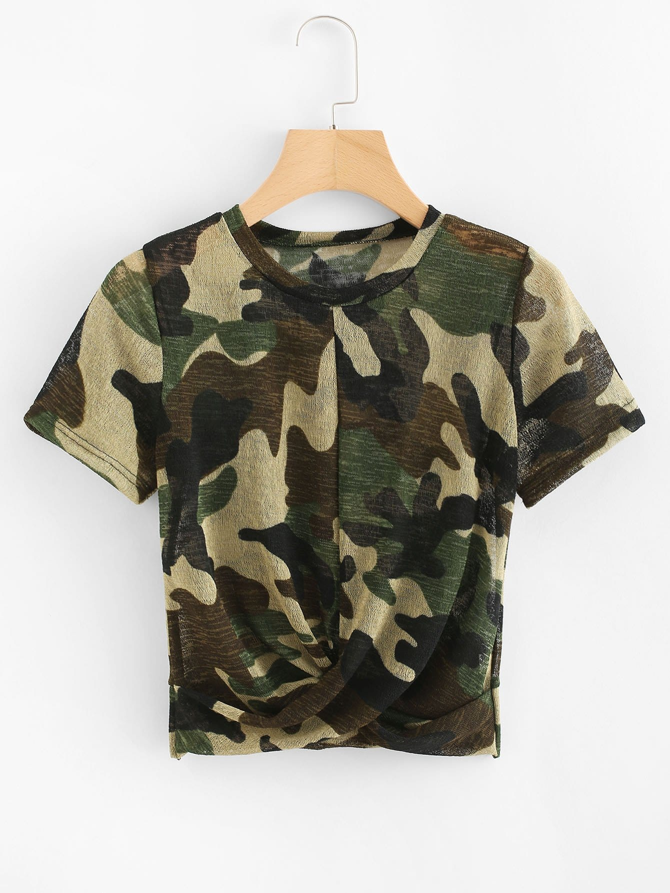 Twist Camouflage Tee twist detail tee