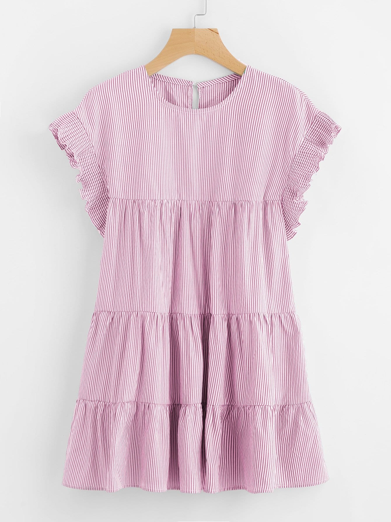 Vertical-Striped Tiered Peasant Frill Dress lace neck tiered striped dress