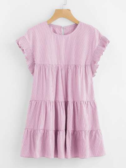 Vertical-Striped Tiered Peasant Frill Dress