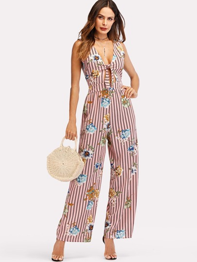 Knot Front Floral Print Striped Jumpsuit