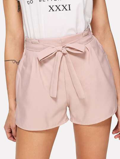 Self Tie Waist Solid Shorts