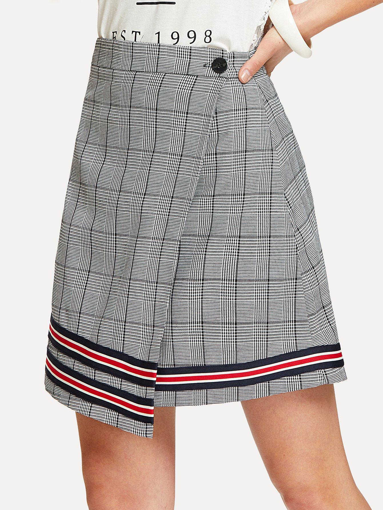 Striped Tape Detail Plaid Skirt striped woven tape detail two tone sweatshirt
