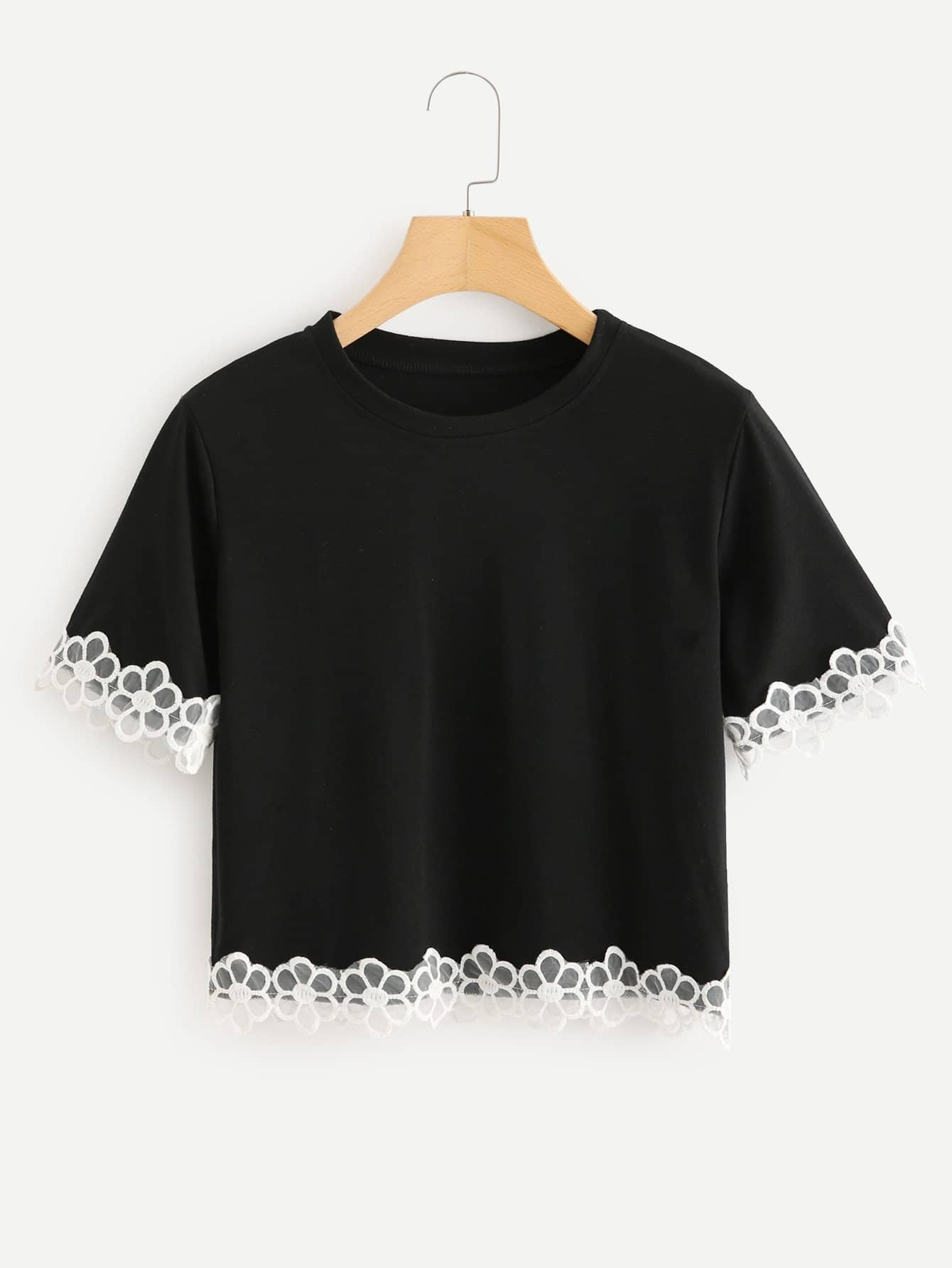 Embroidered Flower Mesh Trim Tee embroidered flower applique mesh sweetheart tee